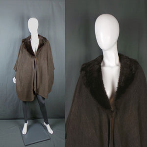 1980s Chestnut Faux Fur Wool Shawl Cape, One Size