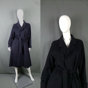 1980s Dark Navy Cashmere Blend Mac Style Belted Coat, by Jaeger, 38in Bust