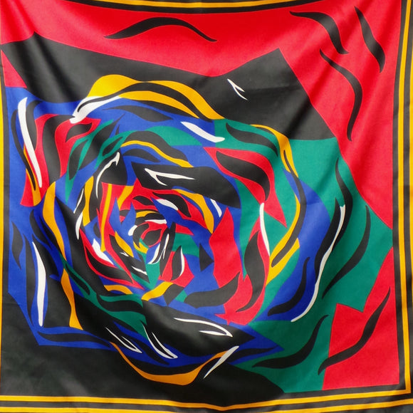 1980s Bright Abstract Rose Print Scarf