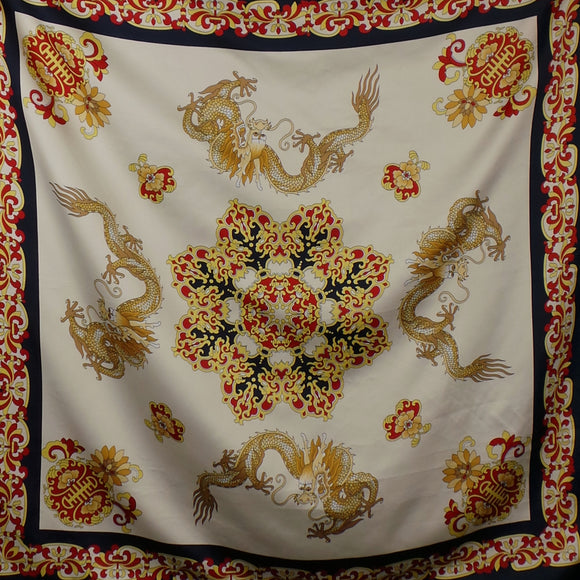 1980s Chinese Dragon Ornate Large Square Scarf