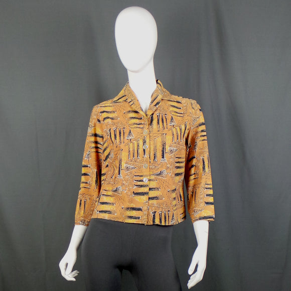 1950s Terracotta City Scene Novelty Print Cotton Blouse, by John Craig, 42in Bust