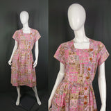 1950s Pale Pink Pastel Folk Novelty Print Cotton Dress, by Penney's Brentwood, 44in Bust