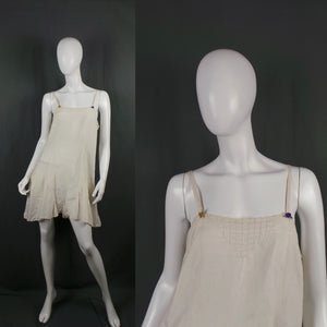 1920s Cream Silk Camiknicks Romper Slip with Coloured Flowers, 38in Bust