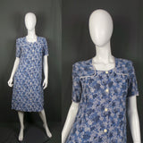 1940s Powder Blue Floral Cotton Day Dress, 38in Bust