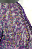 1970s Adini Indian Cotton Purple and Gold Hand Painted Kaftan Maxi, 38in Bust