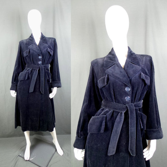 1940s Navy Blue Jumbo Cord Belted Trench Coat, by Myers, 42in Bust