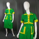 1970s Bright Green and Yellow Block Colour Wide Collar Shirt Dress, by Louis Caring, 35in Bust