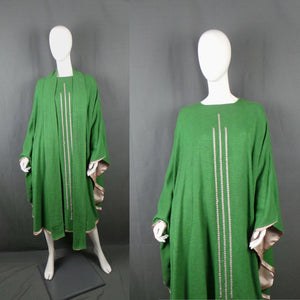 1960s Grass Green Ecclesiastical Clergy Vestment Cape, One Size