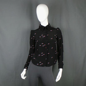 1970s Biba Rare Turtle Print Black Blouse with Cocktail Cuffs, 35in Bust