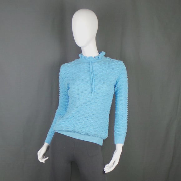 1960s Light Blue Frill Neck Bobble Knit Jumper, 36in Bust