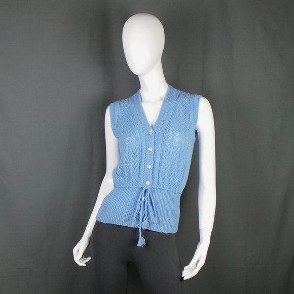 1960s Baby Blue Knit Tank Top with Tie Waist, 34in Bust