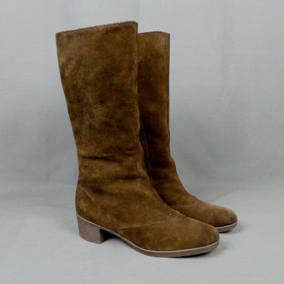 1960s Chocolate Brown Suede Sheepskin Lined Boots, by Moorlands, UK 5