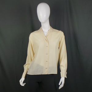 1940s Warm Cream Silk Turn Back Cufflink Blouse, 41in Bust