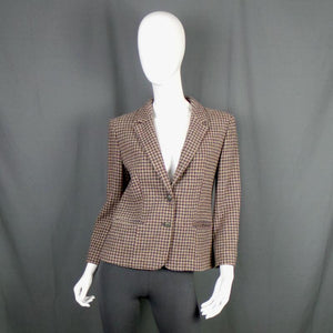 1970s Burgundy and Slate Blue Houndstooth Tweed Professor Blazer, by Pendleton, 40in Bust