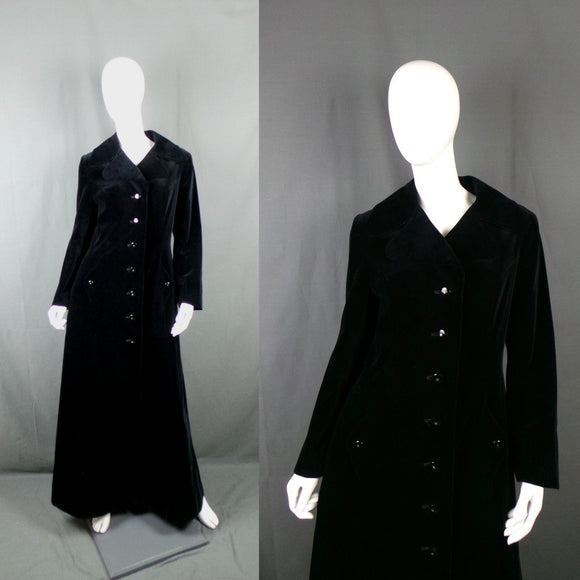1960s Deep Navy Velvet Full Length Princess Coat, by Harella, 40in Bust