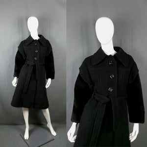 1970s Black Faux Fur Sleeve Belted Wool Coat, by Rothschild, 34in Bust