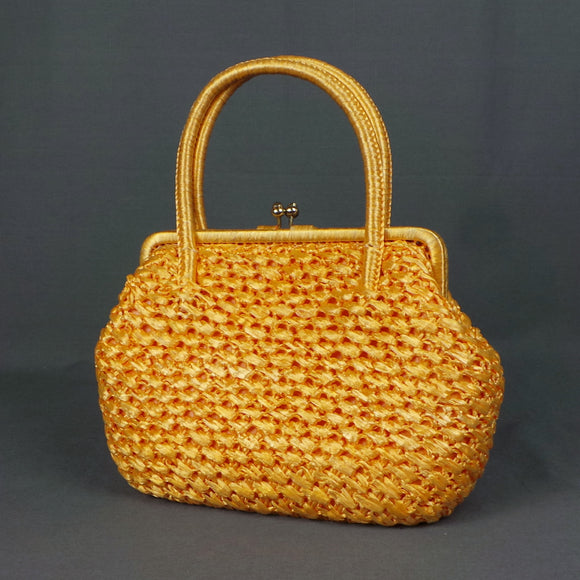 1950s Golden Yellow Raffia Woven Frame Bag
