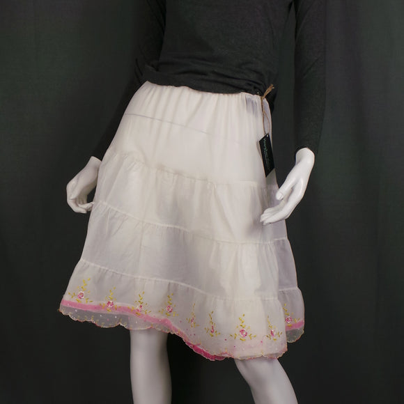 1950s White and Pink Rose Embroidered Petticoat Underskirt, 20in-30in Waist