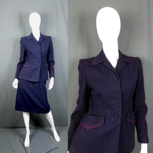 1940s Navy Blue Wool Suit with Contrast Red Stitch Detailing, by Judy Nell, 30in Waist