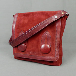 1970s Burgundy Suede Big Button Front Shoulder Bag, by Suzy Smith