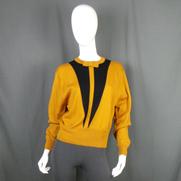 1980s Mustard Yellow Bow Tie Wool Jumper, by Jaeger, 43in Bust max