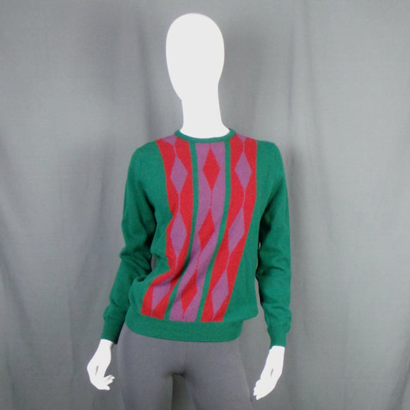 1980s Bottle Green Argyle Wool Jumper, by Jaeger, 42in Bust max