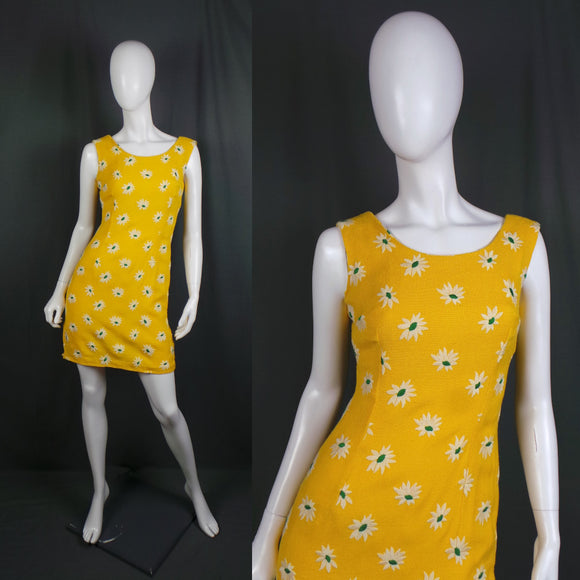 1960s Bright Yellow Embroidered Daisy Wiggle Mini Dress, 34in Bust