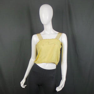 1920s Buttercup Yellow Cropped Cami Top, 34in Bust