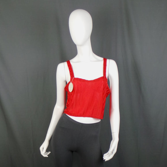 1930s Bright Red Deadstock Cropped Cami Top, 38in Bust