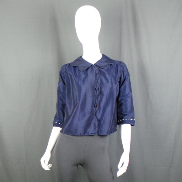 1940s Navy Scalloped Edge Beaded Silk Blouse, 40in Bust