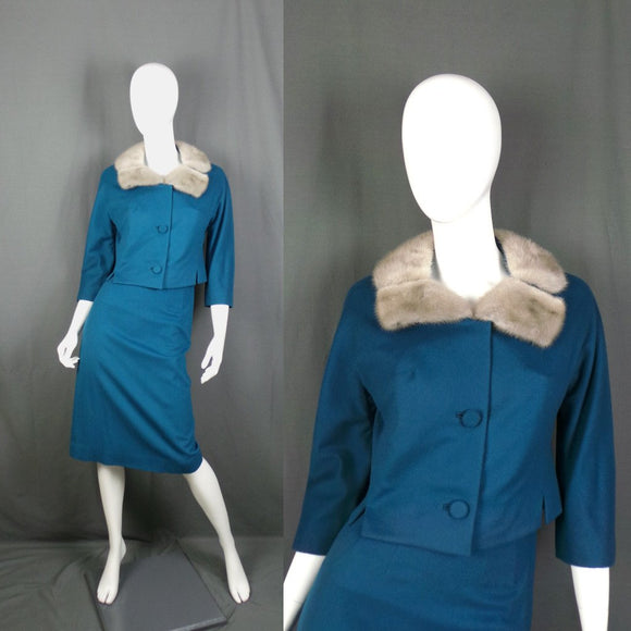 1960s Kingfisher Blue Wool Mod Suit with Grey Real Fur Collar, by Youthcraft and ILGWU, 24in Waist