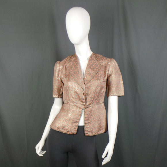 1930s Peach and Silver Brocade Short Sleeve Jacket, 34in Bust