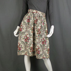 1950s Cream Floral Tapestry Dirndl Skirt, by Stromor, 24in Waist