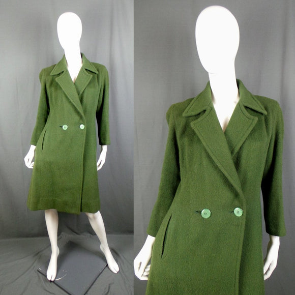 1940s Forest Green Double Button Woolen Coat, 40in Bust