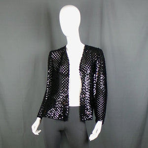 1970s Black Sequin Wool Knit Open Cardigan Jacket, by Bernshaw, 40in Bust