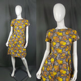1960s Golden Yellow and Grey Sunflower Fitted Dress, 39in Bust