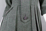 1950s Green and White Spotty Wool Collared Dress, 40in Bust