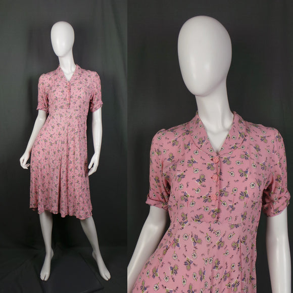 1940s Candy Pink Novelty Daisy Floral Shirt Dress, former Maternity Dress, 34in Bust
