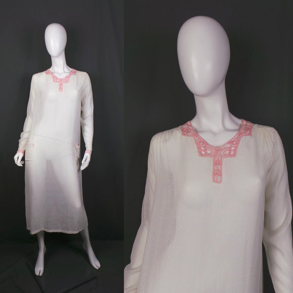 1920s Sheer Swiss Dot White Cotton Lawn Dress with Pink Ribbon Trim, 36in Bust