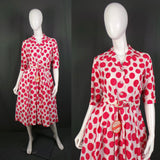 1950s Hot Pink and White Giant Spot Deadstock Shirtwaister Dress, 38in Bust