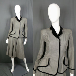 1950s Grey and Black Velvet Trimmed New Look Style Faux Peplum Suit, by Diana Warren, 24in Waist