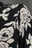 1930s Black and White Floral Loose Open Front Jacket, 40in Bust