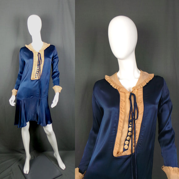 1920s Deep Cobalt Blue Satin and Biscuit Silk Collar Flapper Dress, 36in Bust