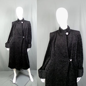1940s Black Faux Fur Teddy Coat with Lucite Buttons, by Dominant, 42in Bust