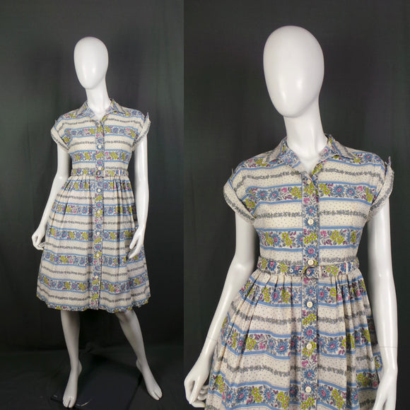 1950s Classic Striped Floral Short Sleeve Cotton Shirtwaister Dress, by Sheevra, 36in Bust