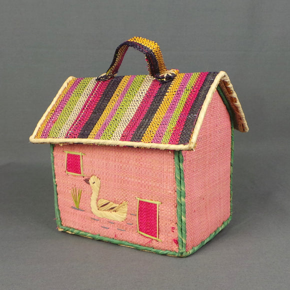 1960s Novelty Striped Pink House Jute Bag with Swan