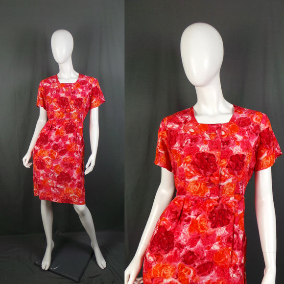 1950s Red and Orange Large Bloom Silk Wiggle Dress, by Heros, 42in Bust