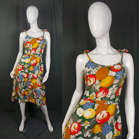 1940s Fruit Print Tie Strap Summer Dress, 37in Bust