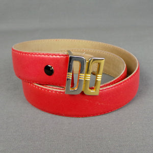 1980s Red Leather Daks Monogram Waist Belt