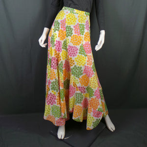 1960s Bright Flower Power Maxi Skirt with Scalloped Hem, by Ruth Clarage, 29in Waist